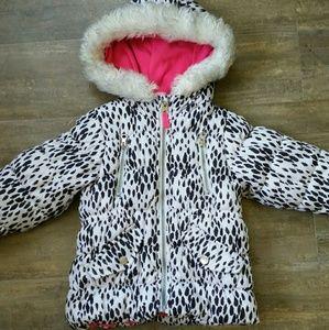 Carter's Dalmatian Faux Fur-Trimmed Puffer Coat